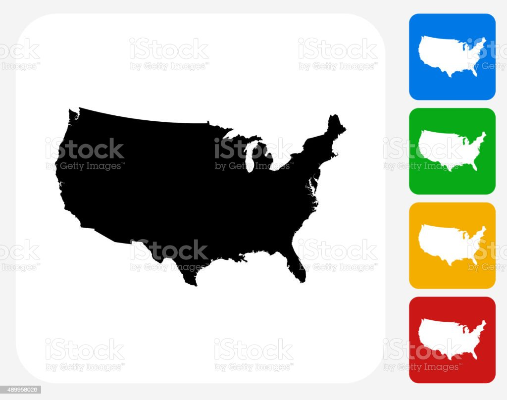 United States Map Icon Flat Graphic Design vector art illustration