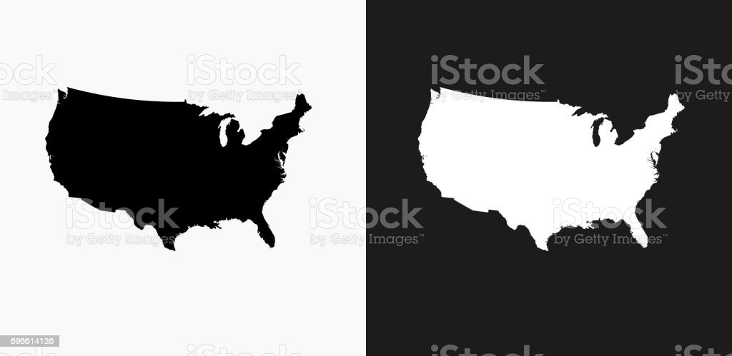 United States Map Icon On Black And White Vector Backgrounds Stock ...