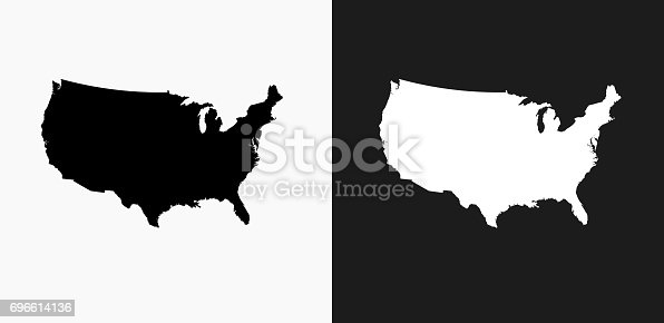 istock United States Map Icon on Black and White Vector Backgrounds 696614136