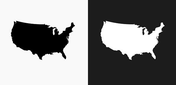 Vetores de Ícone Do Mapa Dos Estados Unidos Em Preto E Branco Vector Backgrounds e mais imagens de Branco