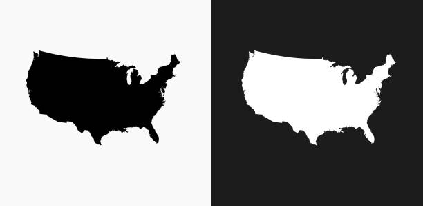 united states map icon on black and white vector backgrounds - north america maps stock illustrations, clip art, cartoons, & icons