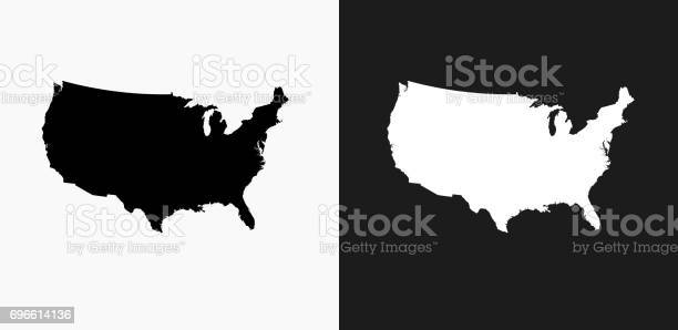 United States Map Icon on Black and White Vector Backgrounds. This vector illustration includes two variations of the icon one in black on a light background on the left and another version in white on a dark background positioned on the right. The vector icon is simple yet elegant and can be used in a variety of ways including website or mobile application icon. This royalty free image is 100% vector based and all design elements can be scaled to any size.