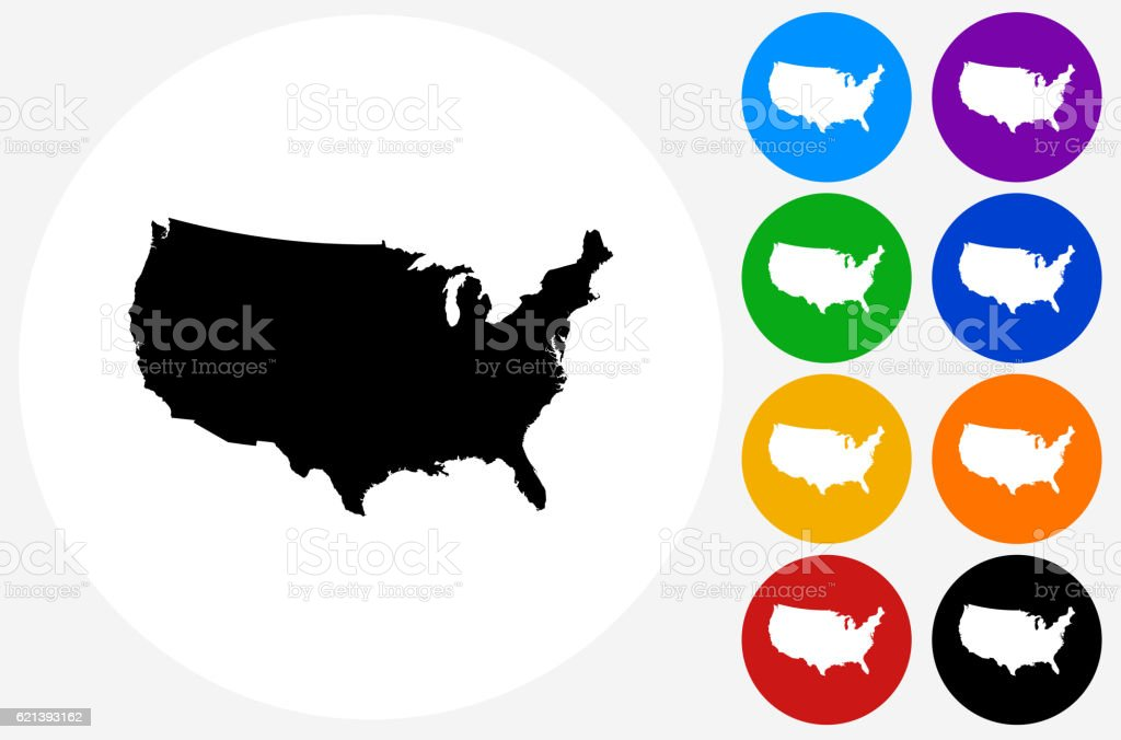 United States Map Icon On Flat Color Circle Buttons Stock Vector - 3 color us map