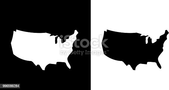 United States Map Icon. The main icon is placed on a flat blue background. It takes up the center portion of the composition and is the main focus of this vector illustration. The icon is simple and the background further emphasizes the icon shape and makes it stand out. The illustration is a 100% royalty free vector.. This royalty free vector illustration features the main icon on both white and black backgrounds. The image is black and white and had the background rendered with the main icon. The illustration is simple yet very conceptual.
