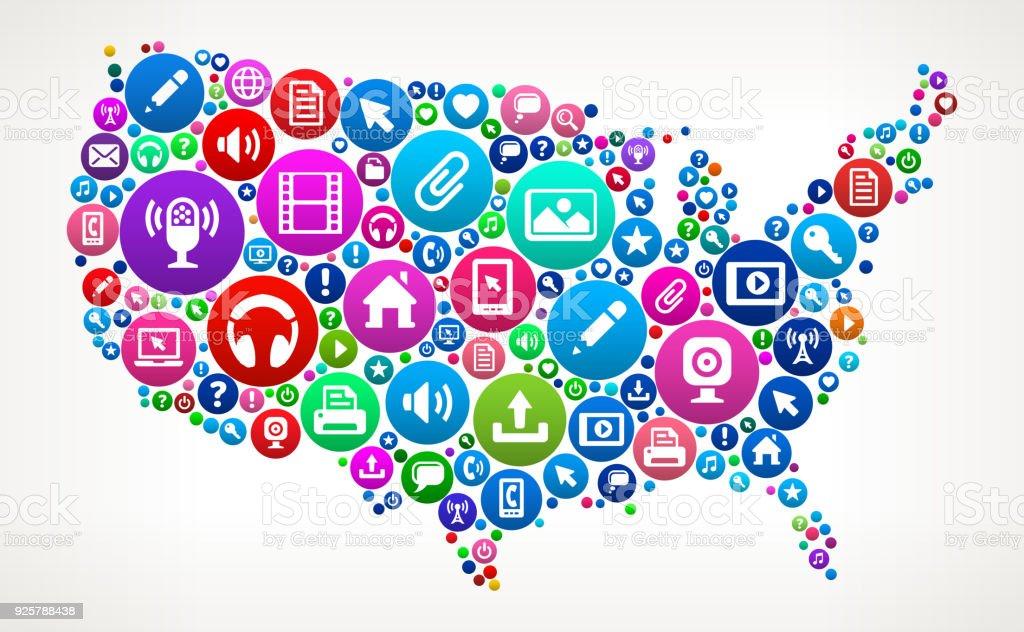 United States Map Internet Communication Technology Icon ...