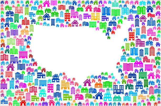 United States Map Real Estate interface icon Pattern United States Map On House and Real Estate Icon Pattern community borders stock illustrations