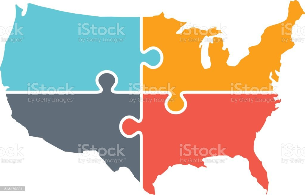 United States Map Rebuild Logo Illustration vector art illustration