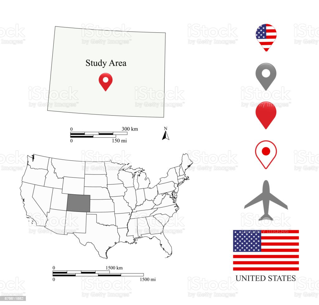 United States Map Scale Vector Outline Illustration Background
