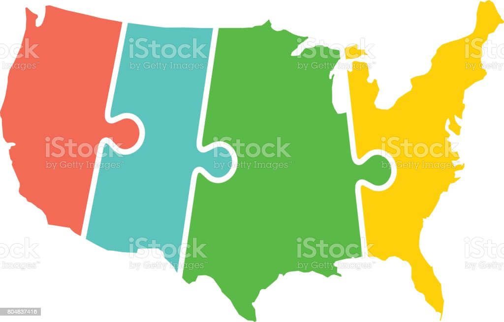 United States Map Time Zones Puzzle Illustration Stock Vector Art ...