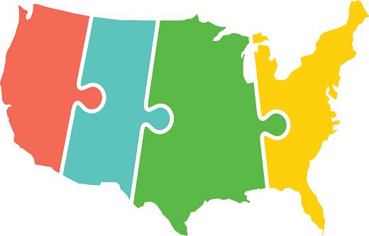 United States Map Time Zones Puzzle Illustration