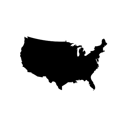 United States map vector black icon. Silhouette isolated on a white background