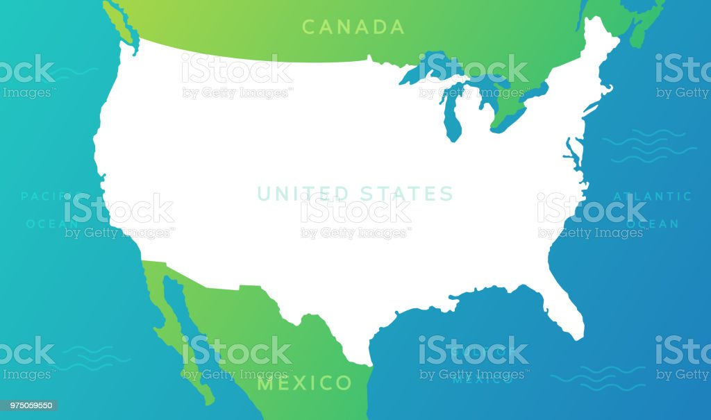 United States Map Stock Vector Art & More Images of Atlantic Ocean ...