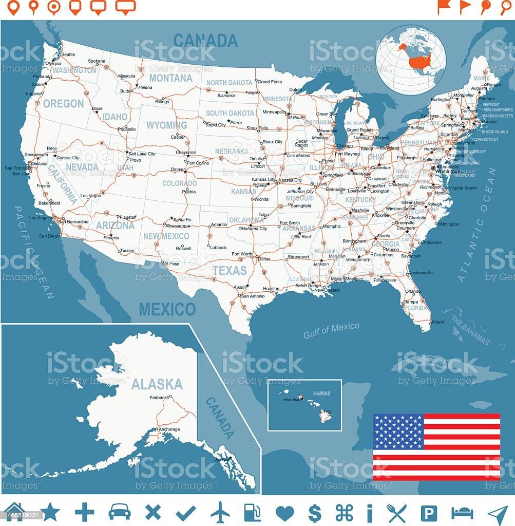 United States map with flag, main roads, states and cities vector art illustration