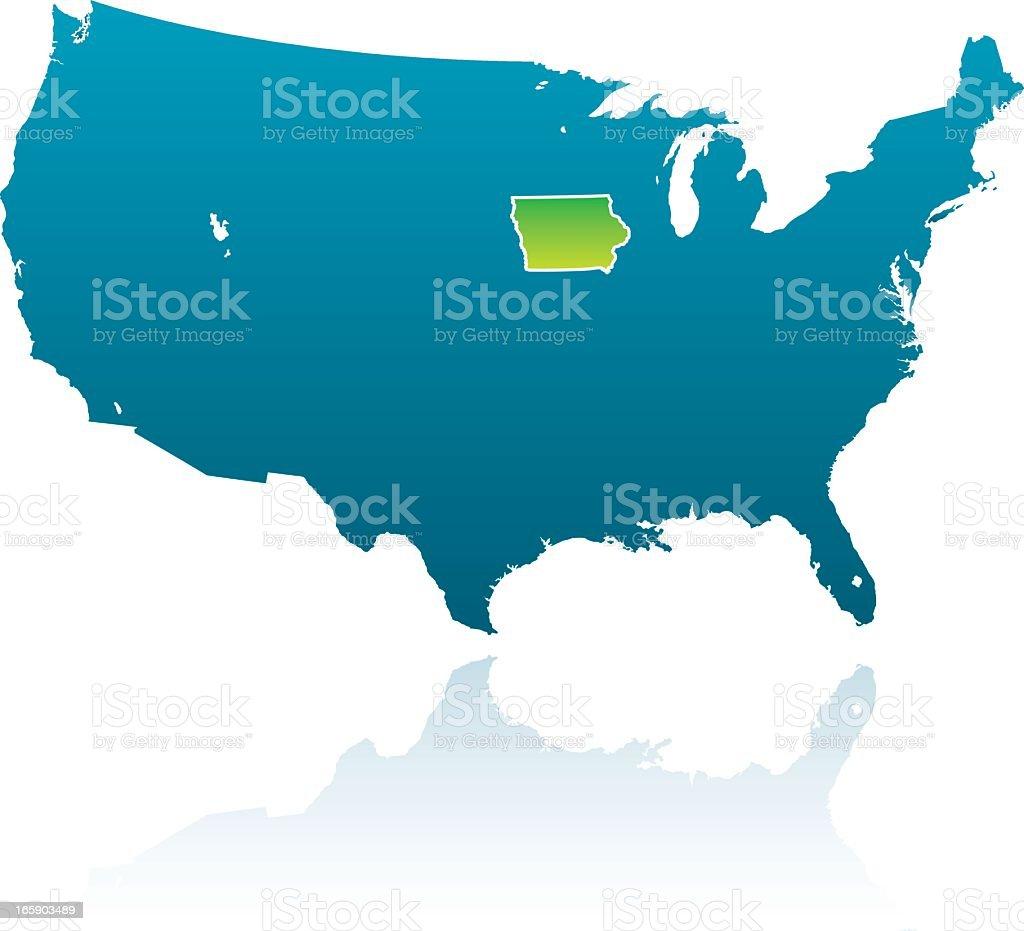 United States Maps: Iowa vector art illustration