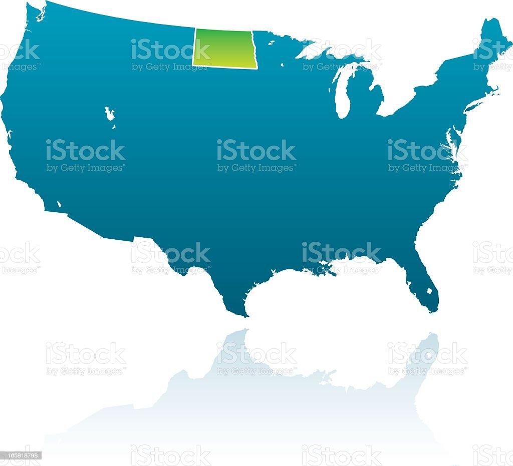 United States Maps: North Dakota royalty-free stock vector art