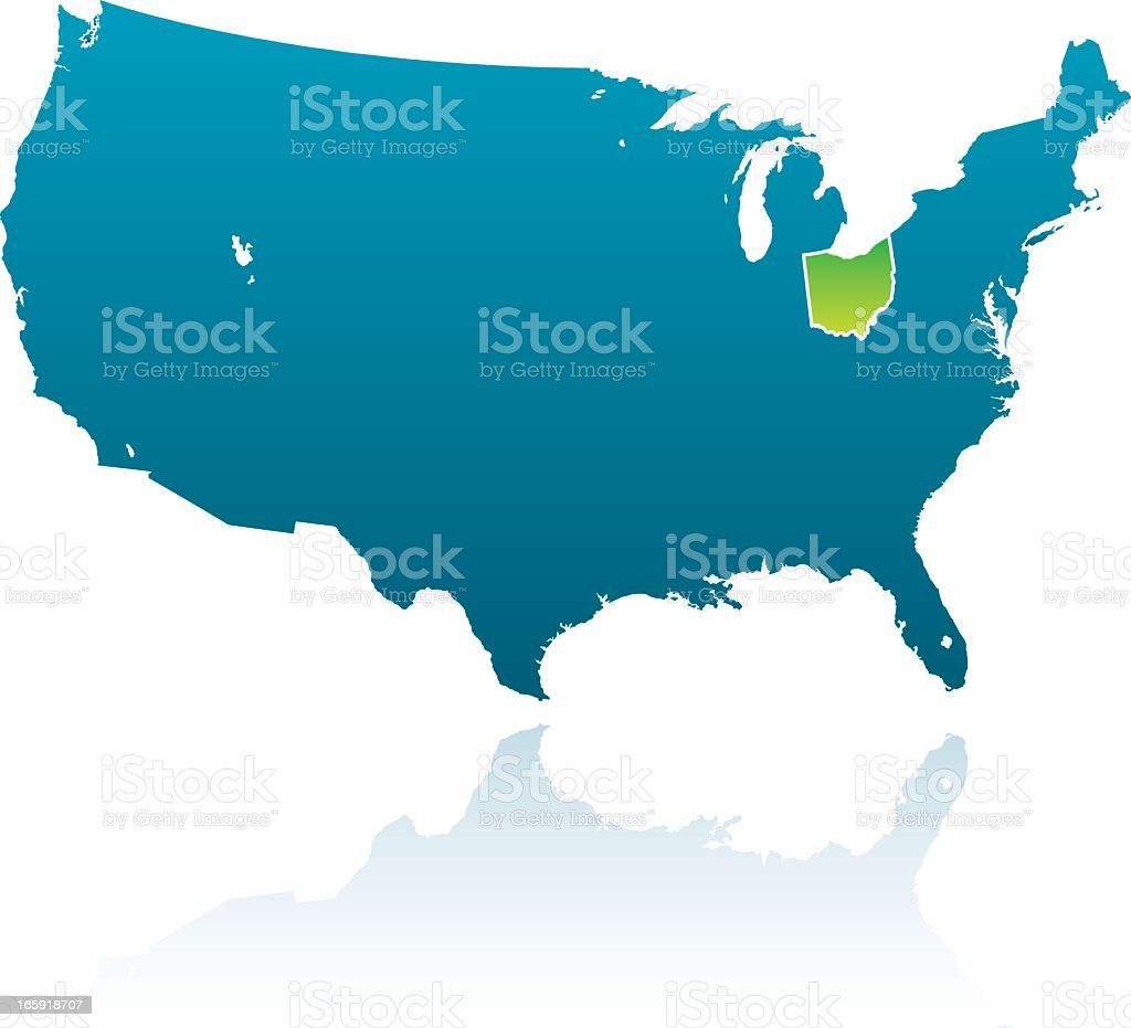 Ohio United States Map.United States Maps Ohio Stock Vector Art More Images Of Blue