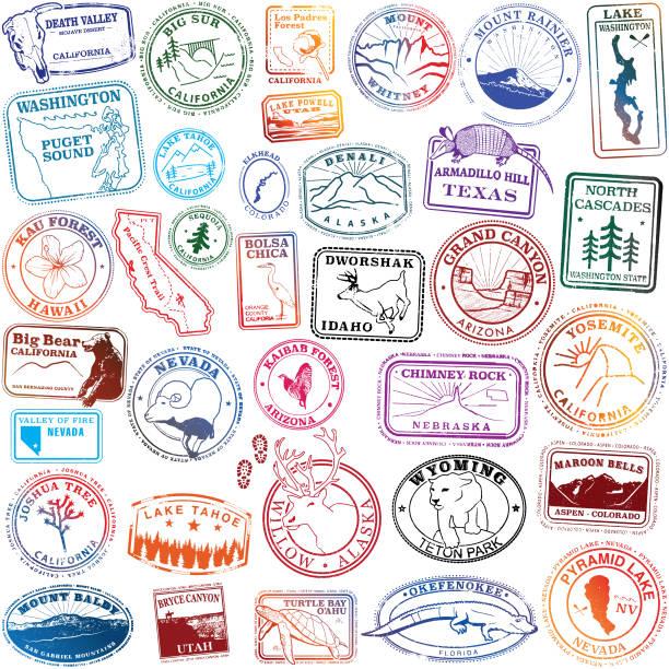 United States Natural Landmark Stamps United States Natural Landmark Stamps lake powell stock illustrations