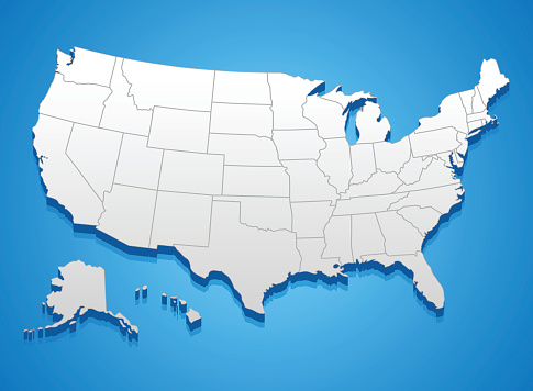 United States of America 3D map against blue background