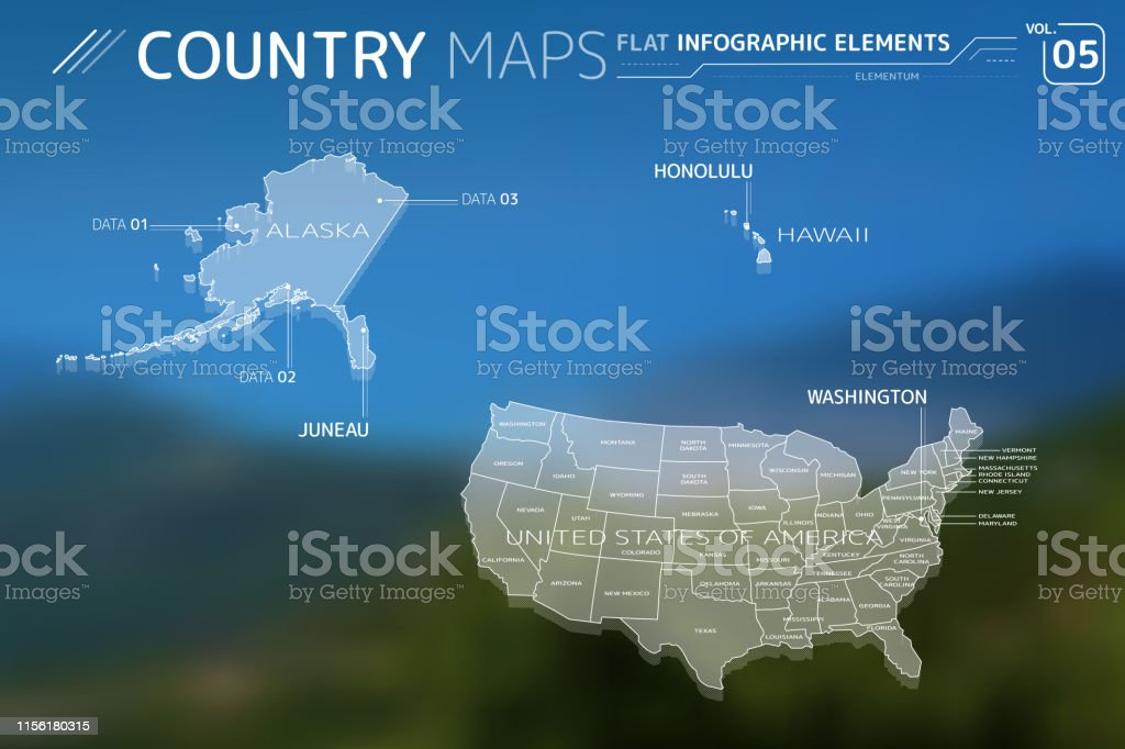 United States Of America Alaska Und Hawaii Vector Maps Stock ...