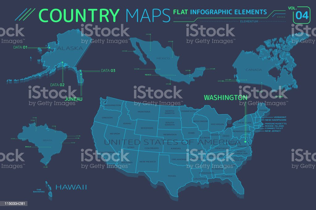 Map Of America Hawaii And Mexico.United States Of America Alaska Hawaii Mexico Canada And