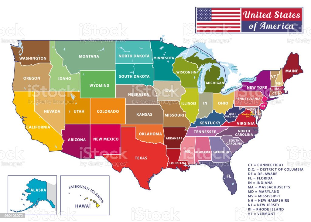 United States Of America Beautiful Modern Graphic Usa Map 50 States