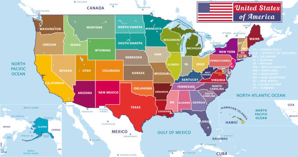 United States of America. Beautiful modern graphic USA map. 50 states. Alaska and Hawai. United States of America. Beautiful modern graphic USA map. 50 states. Alaska and Hawai. Anglo American stock illustrations