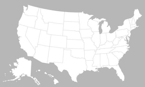 흰색 배경에 고립의 국가 아메리카 합중국 빈 지도. 미국 지도 배경입니다. 벡터 일러스트 레이 션 - 미국 stock illustrations