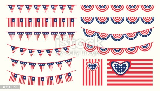 United States of America bunting and flags set