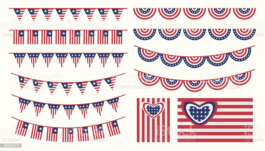 United States of America bunting and flags set vector art illustration