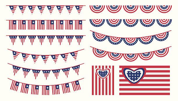 Estados Unidos da América e flags set bunting - ilustração de arte em vetor