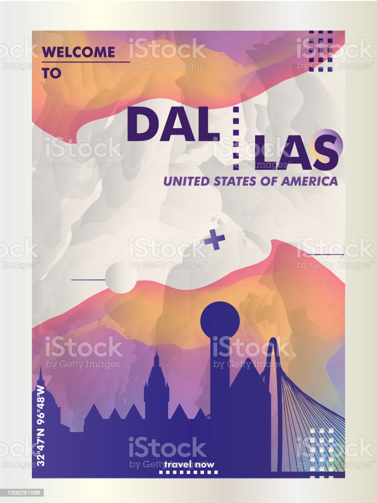 Dallas Texas Skyline United States of America Travel Art Advertisement Poster