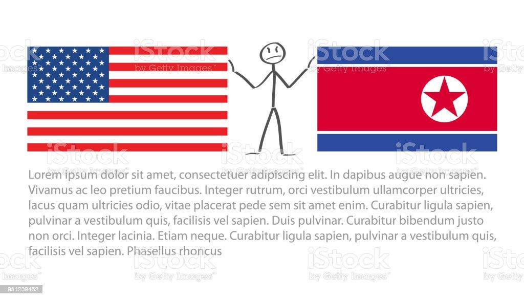 Vereinigte Staaten Von Amerika Fahne Und Nordkorea Fahne Zwischen ...