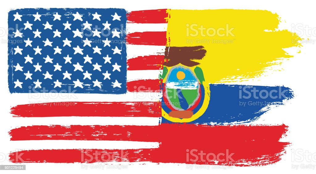 United States of America Flag & Ecuador Flag Vector Hand Painted with Rounded Brush vector art illustration