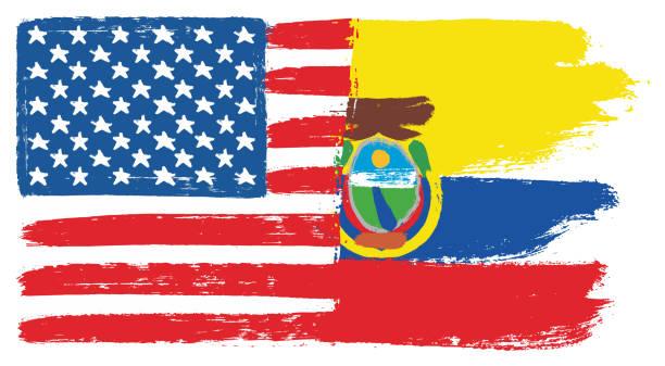 ilustraciones, imágenes clip art, dibujos animados e iconos de stock de bandera de estados unidos de américa y ecuador bandera vector pintadas a mano con cepillo redondo - bandera de ecuador
