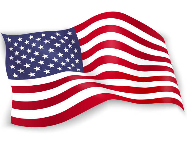 united states of america flag isolated on white background. usa star-spangled banner. memorial day. 4th of july. independence day. waving flag design for poster, flyer, card. vector illustration - american flag stock illustrations