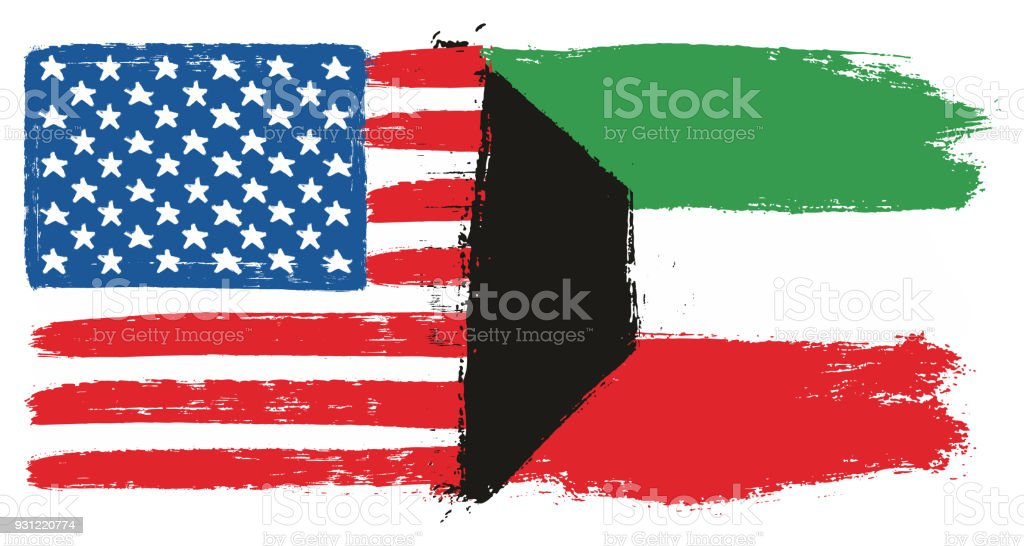 united states of america flag kuwait flag vector hand painted with rh istockphoto com united american flag vector united states flag waving vector