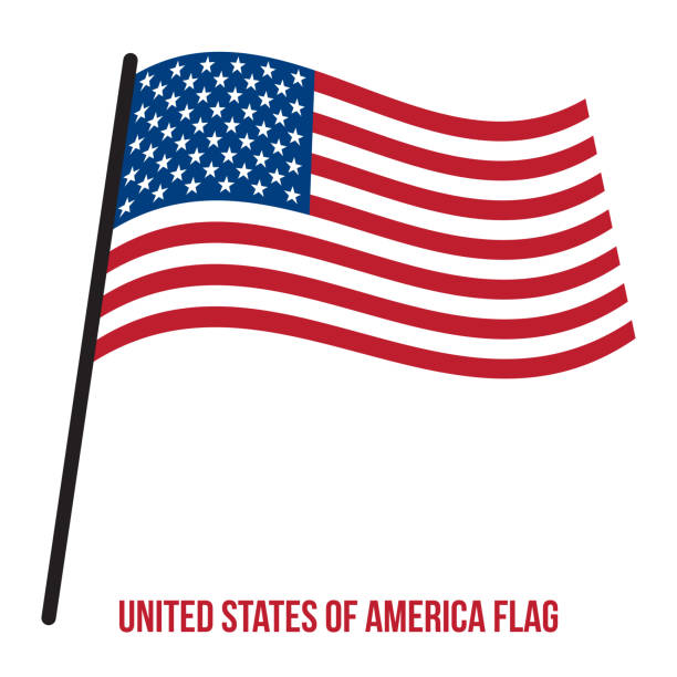 United States of America Flag Waving Vector Illustration on White Background. Flag of the United States of America. vector art illustration