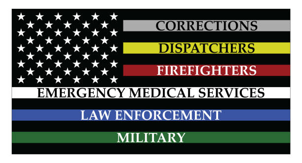 amerika birleşik devletleri bayrağı ile renkli çizgiler - first responders stock illustrations