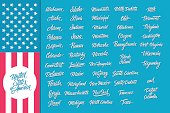 United States of America hand lettering set. Calligraphic elements for your design.