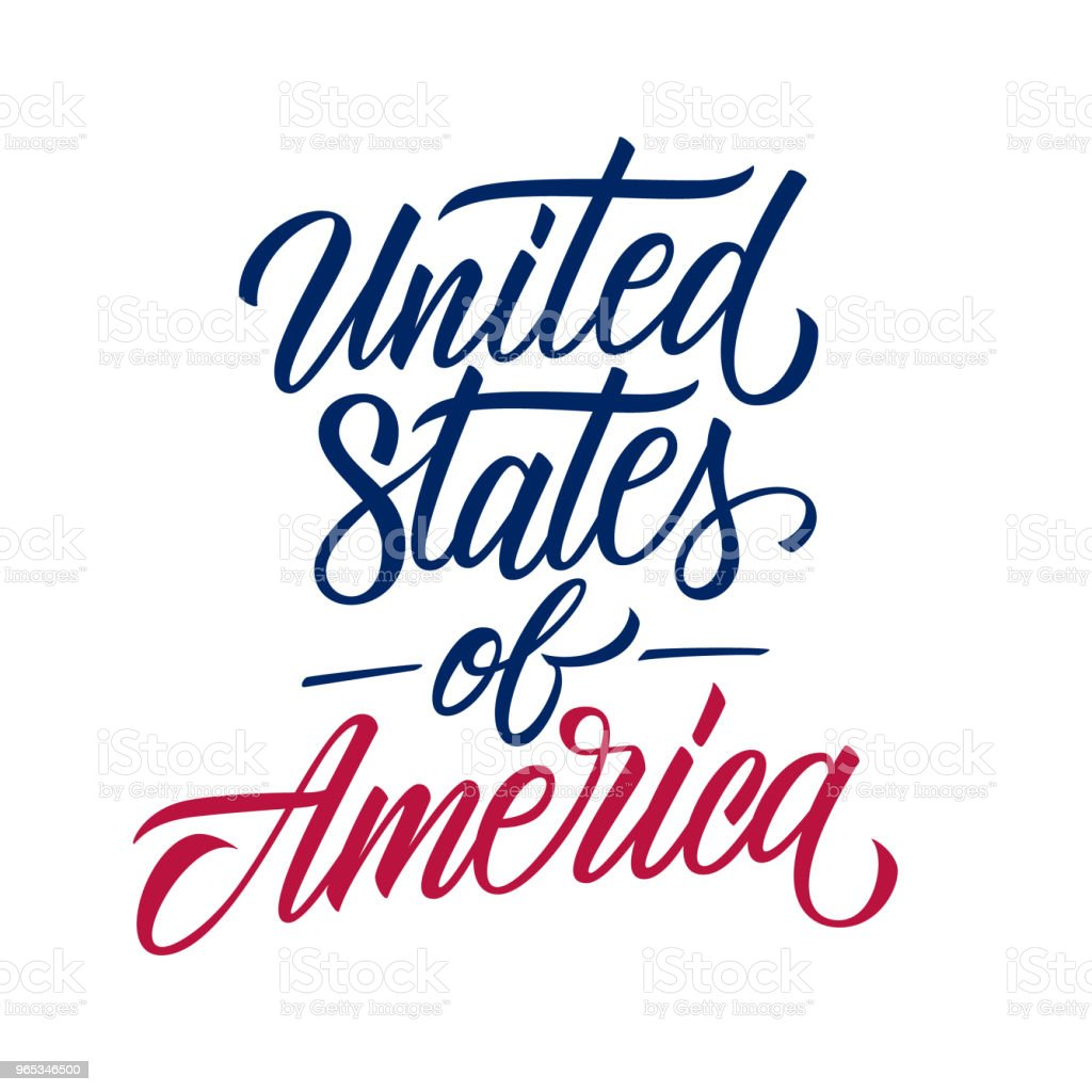United States of America handwritten inscription. Creative typography for USA national holiday greetings and invitations. united states of america handwritten inscription creative typography for usa national holiday greetings and invitations - stockowe grafiki wektorowe i więcej obrazów country - geographic area royalty-free