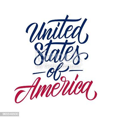 United States Of America Handwritten Inscription Creative Typography For Usa National Holiday Greetings And Invitations - Stockowe grafiki wektorowe i więcej obrazów Country - Geographic Area