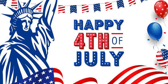 United States of America happy 4th of July modern trendy design with 3d star lettering, typography design on American waving flag, statue of liberty, usa balloon and stars on the background.