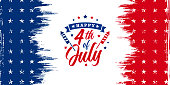 istock USA, United States of America, Happy 4th of July trendy design with firework blast and ribbon on red and blue grunge, vintage American background with stars for sale banner, discount banner, advertisement banner, etc. 1316125972