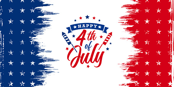 USA, United States of America, Happy 4th of July trendy design with firework blast and ribbon on red and blue grunge, vintage American background with stars for sale banner, discount banner, advertisement banner, etc.