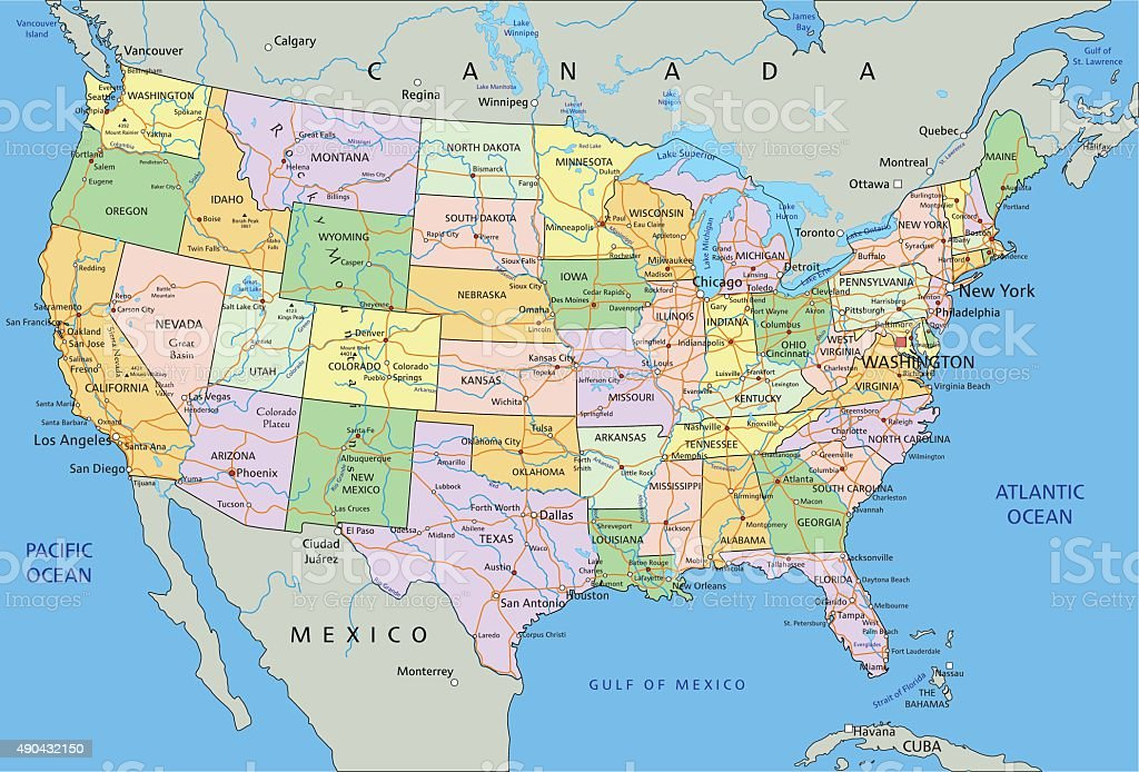 Political Map Of Usa 2015.United States Of America Highly Detailed Editable Political Map