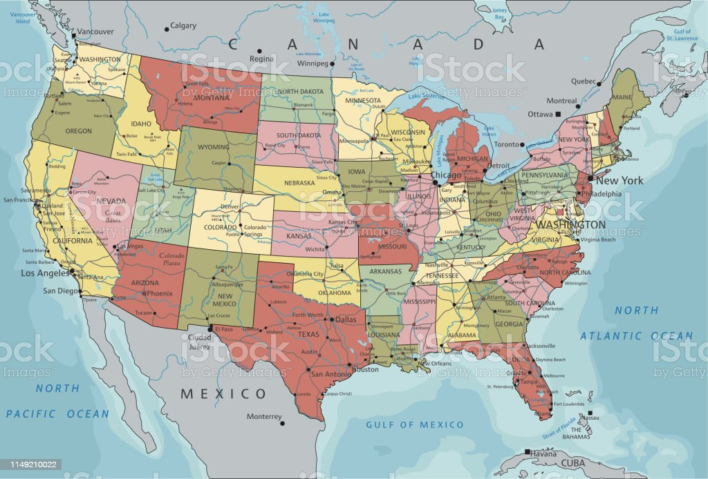 United States Of America Highly Detailed Editable Political Map With ...