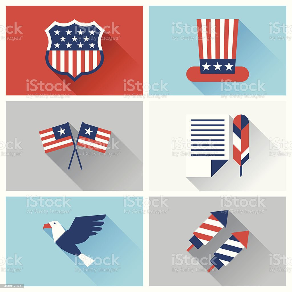 United States of America Independence Day icon set. vector art illustration