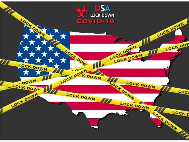 illustrazioni stock, clip art, cartoni animati e icone di tendenza di united states of america lockdown due to coronavirus crisis covid-19 disease. usa under lockdown with usa map - lockdown