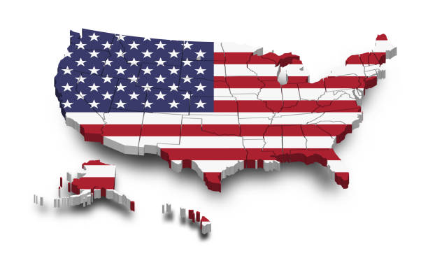 United states of america map and flag . 3D shape design . Independence day of USA concept . Perspective view . Vector vector art illustration
