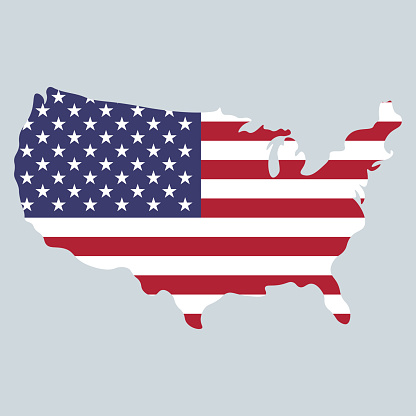 United States of America map and flag design 4th of July